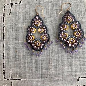 Miguel Ases Purple Crystal Drop Earrings